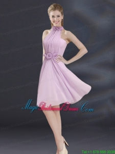 Halter A Line Bridesmaid Dress with Ruhing and Hand Made Flowers