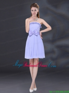 Lavender A Line Strapless Bridesmaid Dress with Bowknot