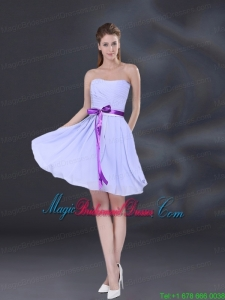 Ruching and Belt Chiffon Bridesmaid Dress in Lavender