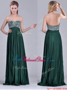 Popular Brush Train Beaded Bust and Pleated Bridesmaid Dress in Hunter Green