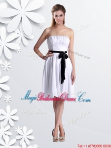Elegant Empire Strapless Ruched and Be-ribboned White Bridesmaid Dress in Chiffon