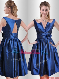 Exquisite Open Back Hand Crafted Flower Bridesmaid Dress in Royal Blue