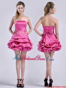 Latest A Line Bubble and Bowknot Taffeta Bridesmaid Dress in Hot Pink