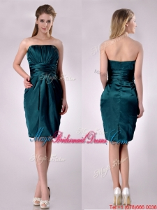 Exclusive Column Ruched Decorated Bodice Bridesmaid Dress in Hunter Green
