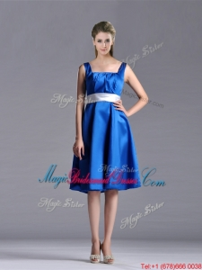 Exquisite Empire Square Taffeta Blue Bridesmaid Dress with White Belt