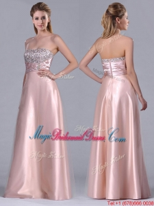 Fashionable Strapless Peach Long Bridesmaid Dress with Beaded Bodice