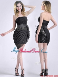 Lovely Column Bowknot Short Bridesmaid Dress in Chiffon and Sequins