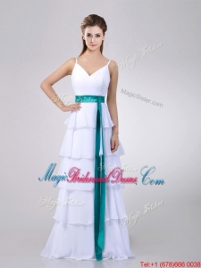 Lovely White Bridesmaid Dress with Ruffled Layers and Turquoise Belt