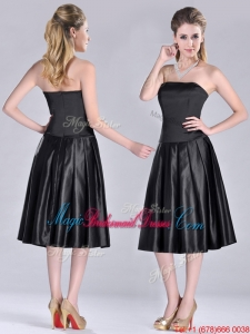 Most Popular Zipper Up Strapless Black Bridesmaid Dress in Tea Length