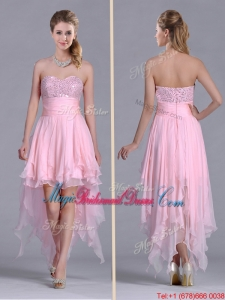 New Arrivals Beaded Bust High Low Chiffon Bridesmaid Dress in Baby Pink