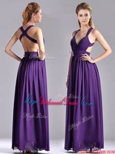 Sexy Purple Criss Cross Bridesmaid Dress with Ruched Decorated Bust