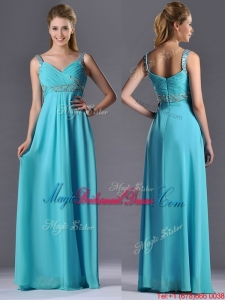 Beautiful Empire Aqua Blue Long Bridesmaid Dress with Beading and Ruching