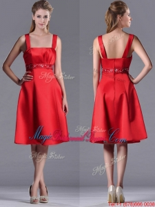Best Selling Square Beaded Decorated Waist Bridesmaid Dress in Knee Length