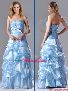 Column Sweetheart Long Light Blue Beaded Ruched Bridesmaid Dress in Organza