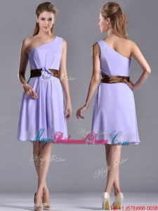 Exclusive One Shoulder Lavender Short Bridesmaid Dress with Brown Belt