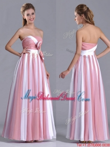 Hot Sale Bowknot Strapless White and Pink Bridesmaid Dress with Side Zipper
