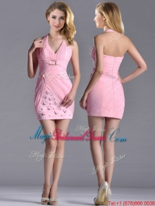Latest Column Halter Top Bridesmaid Dress with Beading and Ruching