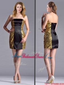Popular Column Black and Gold Bridesmaid Dress in Sequins and Satin