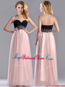Modern Empire Beaded and Ruched Bridesmaid Dress in Baby Pink and Black