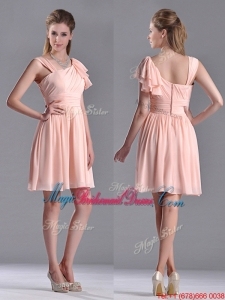 Pretty Empire Ruched Peach Bridesmaid Dress with Asymmetrical Neckline