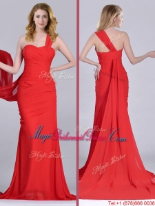Column One Shoulder Watteau Train Coral Red Bridesmaid Dress with Side Zipper