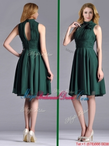 New High Neck Handmade Flower Dark Green Bridesmaid Dress with Open Back