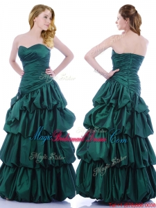 Popular A Line Ruched and Bubble Bridesmaid Dress in Hunter Green