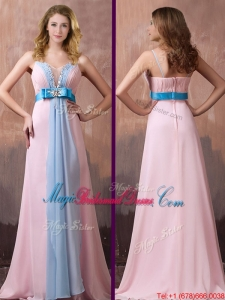 New Style Spaghetti Straps Beaded and Bowknot Bridesmaid Dress with Brush Train