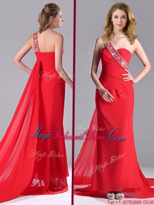 Pretty Column One Shoulder Watteau Train Chiffon Coral Red Bridesmaid Dress with Beaded