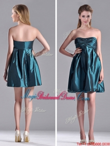 New Arrivals Strapless Ruched Taffeta Short Bridesmaid Dress in Teal