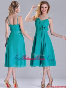 Spaghetti Straps Ruched and Belted Turquoise Bridesmaid Dress in Tea Length