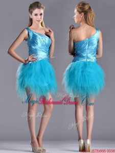 Wonderful One Shoulder Ruched and Ruffled Aqua Blue Bridesmaid Dress in Tulle