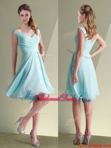 Popular Chiffon Off the Shoulder Aqua Blue Bridesmaid Dress with Ruching