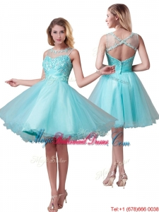 Popular See Through Bateau A Line Bridesmaid Dress with Beading