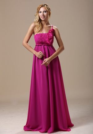 Fuchsia One Shoulder Bridesmaid Dress with Hand Made Flowers In Denver