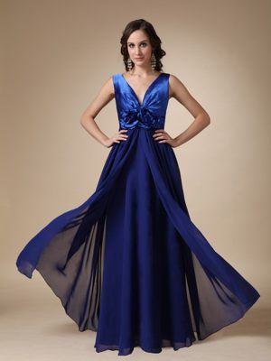 Royal Blue Empire V-neck Satin and Chiffon Bridesmaid Dresses in Phoenix AZ