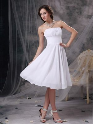 Onsala Sweden Simple White A-line Strapless Bridemaid Dress for Church Wedding
