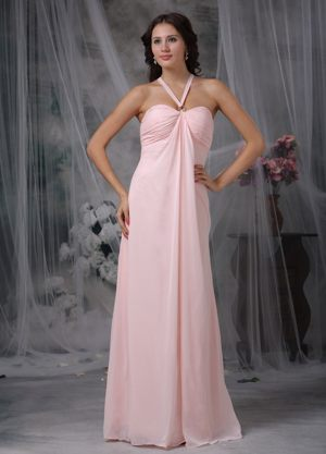 Sarpsborg Norway Unique Halter Ruched Chiffon Pink Maternity Bridemaid Dress