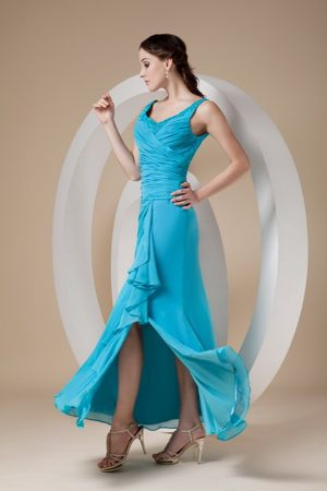 Fitted Teal Chiffon Bridemaid Dress for Church Wedding in Karkkila Finland