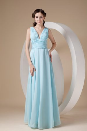 Sweet Aqua Blue Column Chiffon Ruched Bridemaid Dress in Narvik Norway
