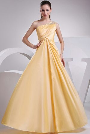 Fabulous Yellow One Shoulder Beading Bridesmaid Dress in Kista Sweden