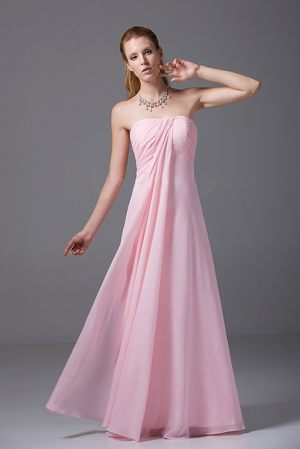 Pretty Pink Empire Strapless Chiffon Ruched Bridesmaid Dress in Halmstad Sweden