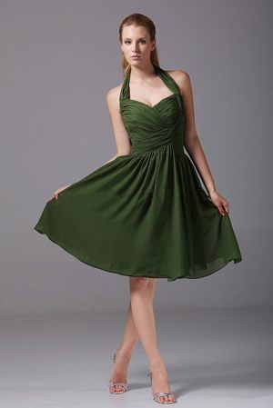 Simple Chiffon A-Line Knee-length Olive Green Bridesmaid Dress in Moss Norway