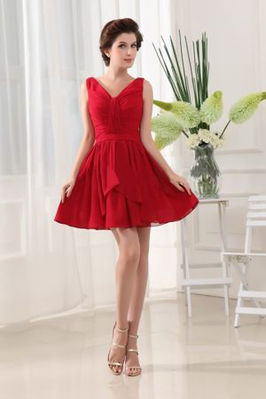 Pretty Red Chiffon Bridemaid Dress for Summer Wedding in Ottawa United States