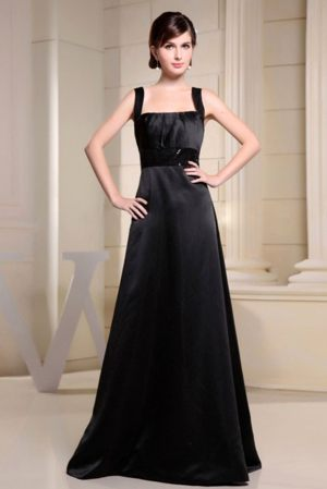 Graceful Black A-line Bridemaid Dress with Straps in Hardinsburg US