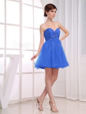 Beading and Ruching Sweetheart Blue Short Dresses for Bridesmaid in Himeville