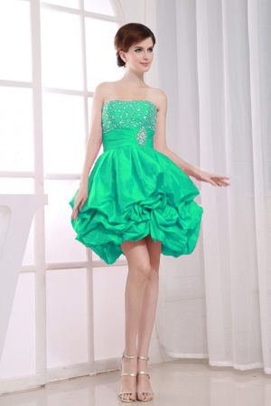 Beading A-Line Strapless Green Bridesmaids Gown in Hillcrest with Pick-ups