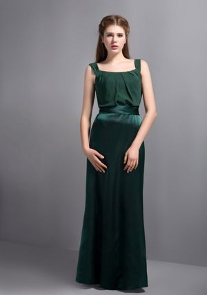 2013 Dark Green Column Bridesmaid Dresses in Helderkruin with Square Neckline