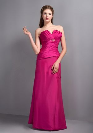 Elegant Hot Pink V-neck with Beading for Dress for Bridesmaids in Hekpoort