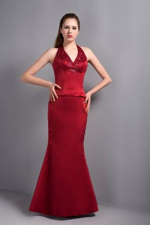 Popular Wine Red Mermaid Halter Dresses for Bridesmaid in Hatfield with Beading